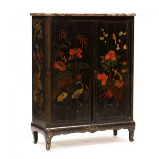 Antique French Marble Top Chinoiserie Storage Cabinet