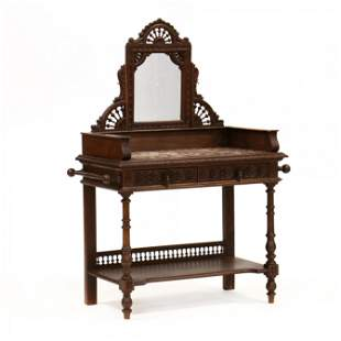 French Carved Oak and Marble Top Mirrored Wash Stand