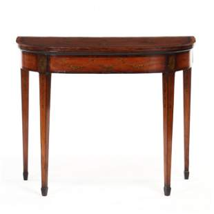 Adams Fruit Wood Inlaid and Painted Card Table