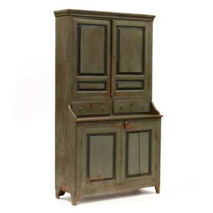 Antique Continental Painted Step-Back Cabinet