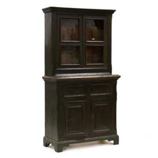 Continental Painted Pine Step-Back Diminutive Cupboard