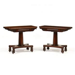 Pair of William IV Mahogany Game Tables