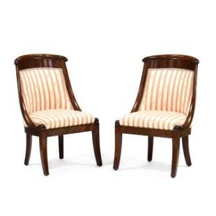 Pair of Biedermeier Slipper Chairs
