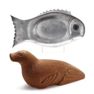 Arthur Court Fish Platter and Carved Wood Sea Lion Box