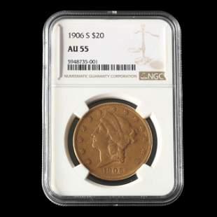 1906-S $20 Liberty Head Gold Double Eagle, NGC AU 55