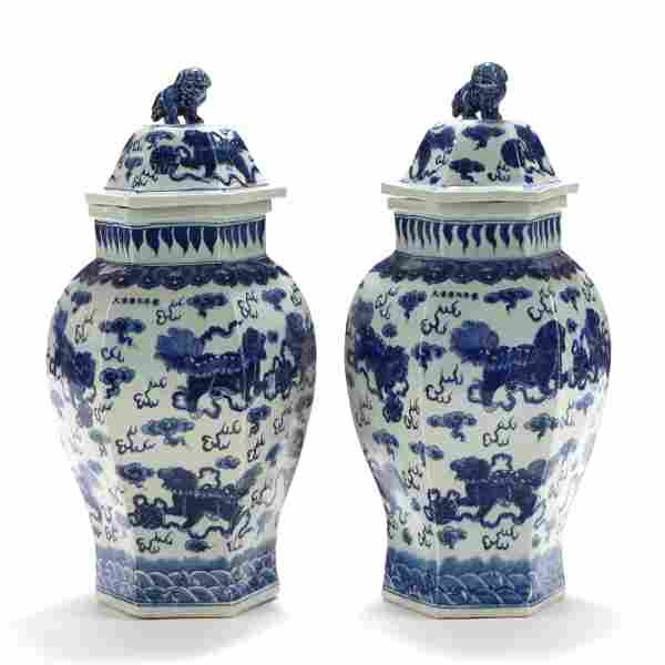 A Pair of Large Chinese Porcelain Blue and White