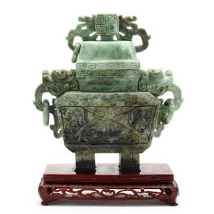A Chinese Marbled Green Soapstone Covered Censer