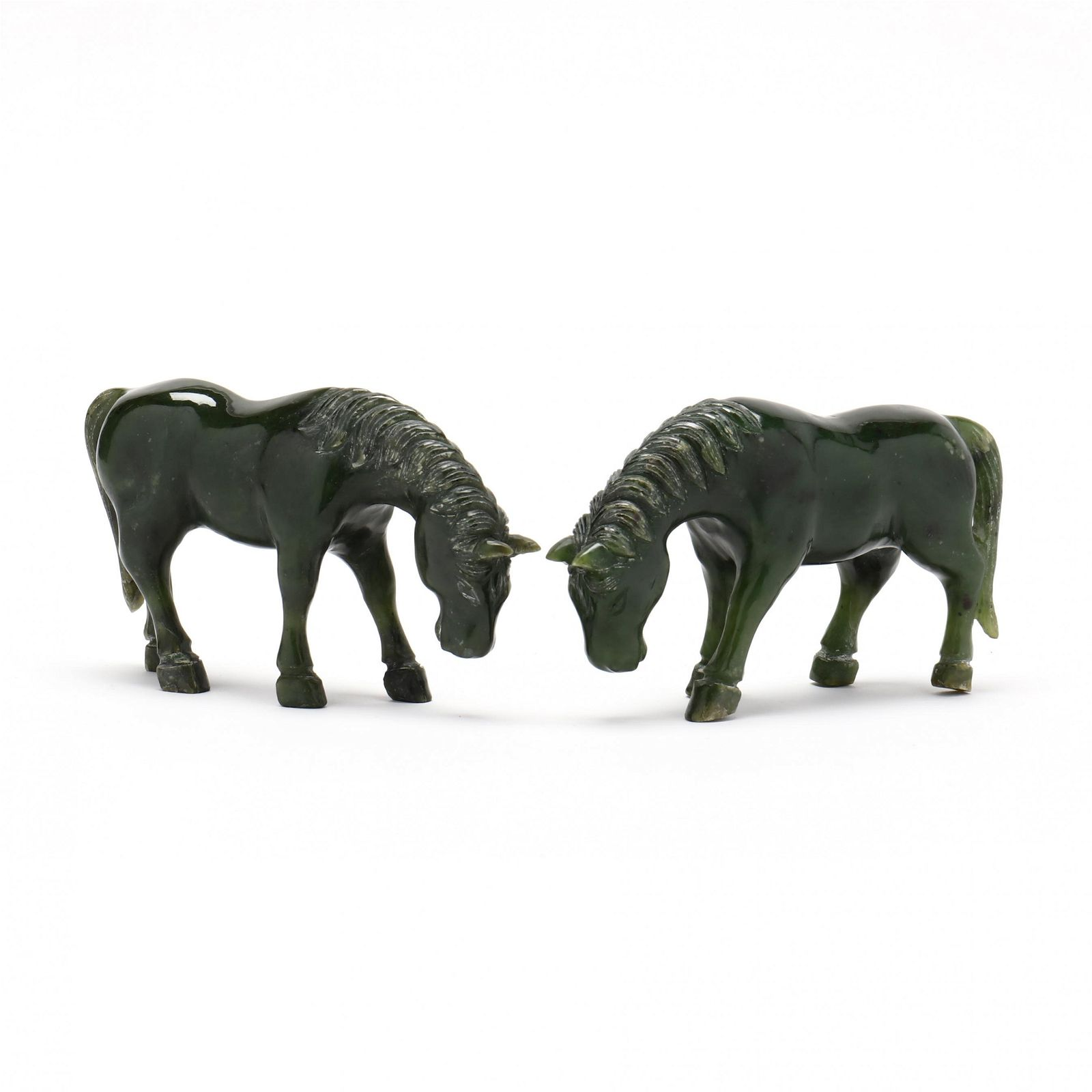 A Pair of Chinese Spinach Jade Carved Horses