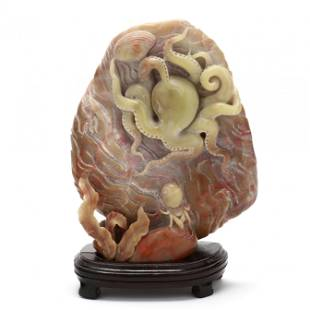 A Carved Hardstone Sculpture with Sea Creatures