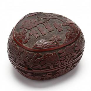 A Chinese Peach Shaped Carved Cinnabar Lacquer Box and