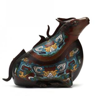 Chinese Cloisonne Container in the Form of a Kneeling