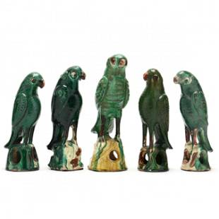 A Group of Chinese Green Glazed Parrots