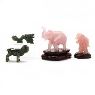 Four Carved Hardstone Animals