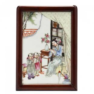 A Chinese Porcelain Plaque with Figural Scene