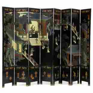 A Chinese Eight Panel Carved and Painted Floor Screen