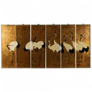 A Chinese Six Panel Screen Depicting a Dance of Cranes