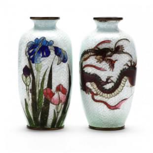A Pair of Japanese Ginbari Cloisonne Vases