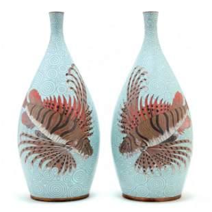 Pair of Large Cloisonne Vases, Retailed through Saks