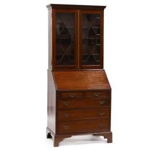 Antique English Mahogany Bureau Bookcase