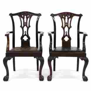 Pair of Antique English Chippendale Style Carved