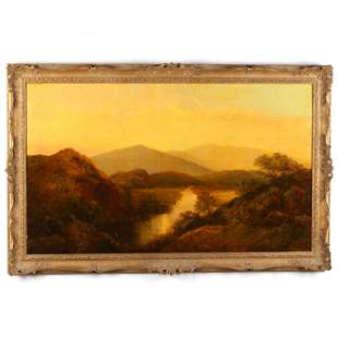 English Landscape of a River Valley at Sunset
