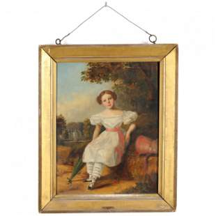 An Early Victorian Portrait of Young Girl by F. Target