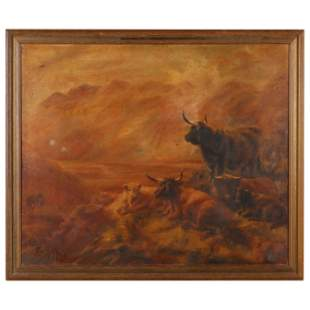 An Antique Pastoral Scene with Scottish Highland Cattle