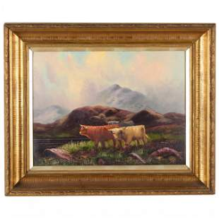 Scottish Highland Cattle Grazing by a Loch, 20th