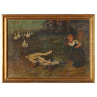 Antique English School Painting of a Farm Child Feeding