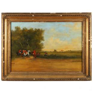 An Antique English School Painting of a Fox Hunting