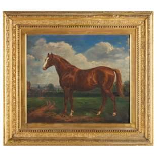 Antique English School Portrait of a Racehorse