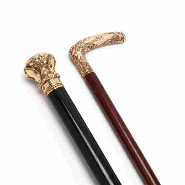 Two Antique Gold-Filled Handled Canes