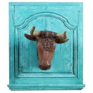 Antique Painted Zinc Wall-Mount Steer Head