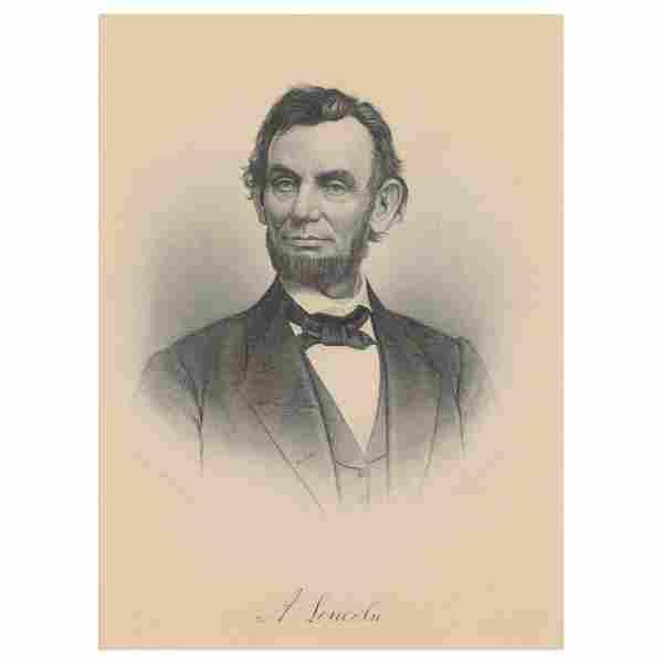 Antique Portrait Engraving of Abraham Lincoln