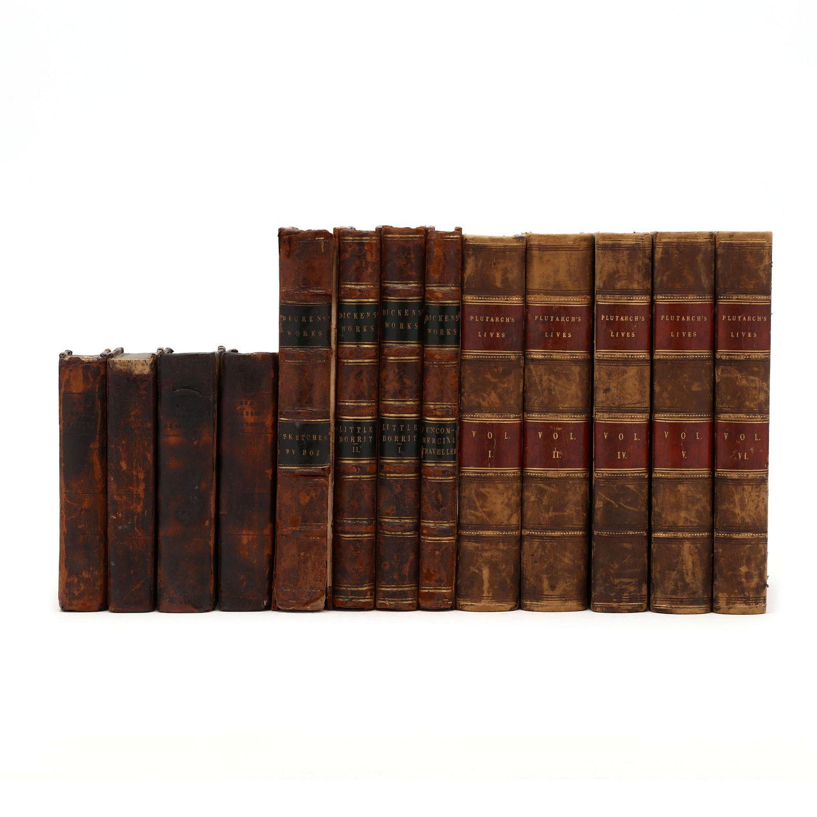 Three Partial Sets of British Antique Leatherbound
