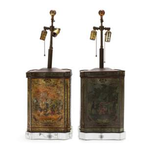 Pair of Chinoiserie Tole Table Lamps