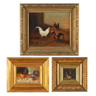 Three Small Paintings Celebrating the Barnyard Antics
