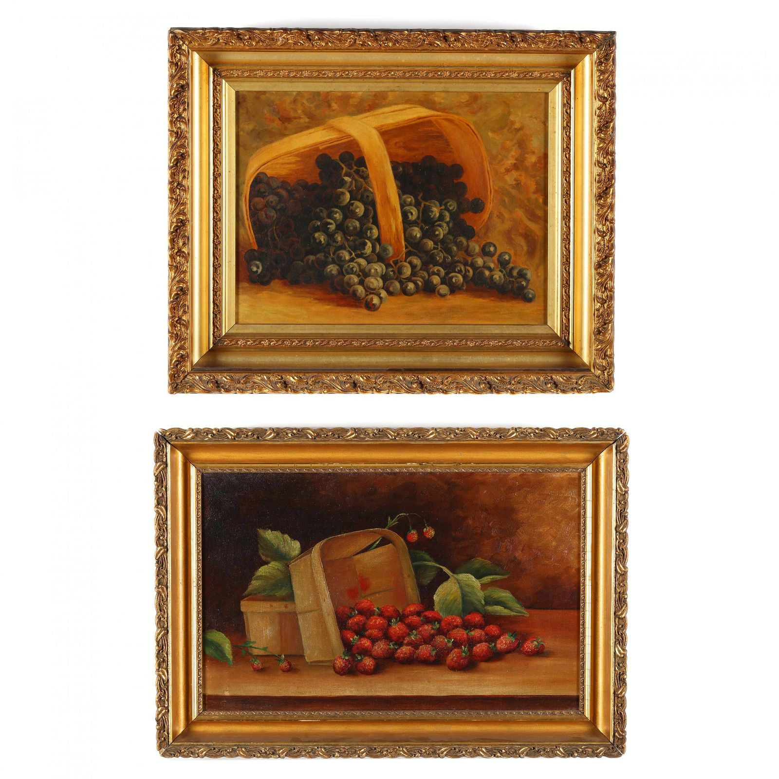 Two Antique American Still Life Paintings with Fruit