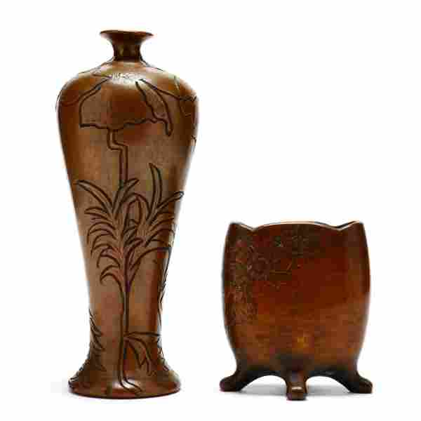 Two J. B. Owens / Clewell Copper Clad Vases