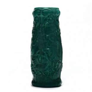 Attributed J. B. Owens, Aqua Verdi Line Vase
