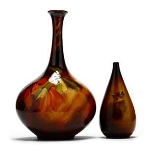 Two J. B. Owens Pottery Utopia Line Vases