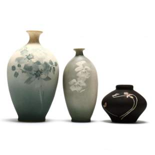 Three J. B. Owens Pottery Matte Glaze Vases