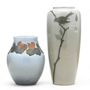 Two J. B. Owens Pottery Lotus Vases
