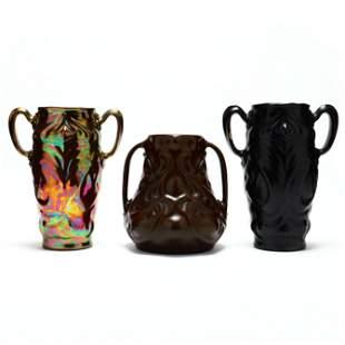 Attributed J. B. Owens, Three Feroza Line Vases