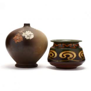 "J. B. Owens Utopian Globe Vase, Artist Signed ""Steele"""