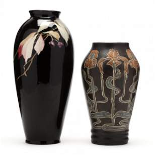 Attributed to J. B. Owens Pottery, Two Vases