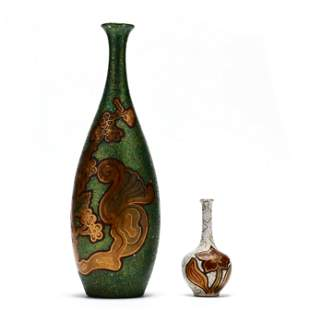 Two J. B. Owens Opalescence Inlaid Vases