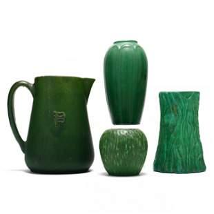 Four Art Pottery Matte Green Vases