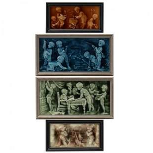 Four Majolica Tile Plaques of Putti Narrative Scenes