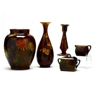 A Group of Five Lonhuda Pottery Pieces